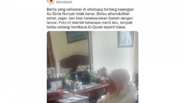 Anita Wahid bantah kabar meninggalnya Sinta Nuriyah di akun Twitter miliknya, Kamis (19/8/2021).