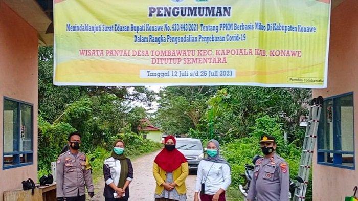 PPKM Mikro di Konawe Berlaku, Polsek Bondoala Tutup Wisata Pantai Batu Gong 12 Juli - 26 Juli 2021