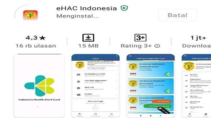 Aplikasi Electronic Health Alert Card atau eHAC.