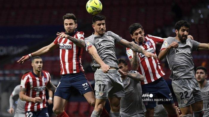 Pertandingan antara Atletico Madrid melawan Athletic Bilbao di Liga Spanyol, stadion Wanda Metropolitano di Madrid pada 10 Maret 2021. GABRIEL BOUYS / AFP