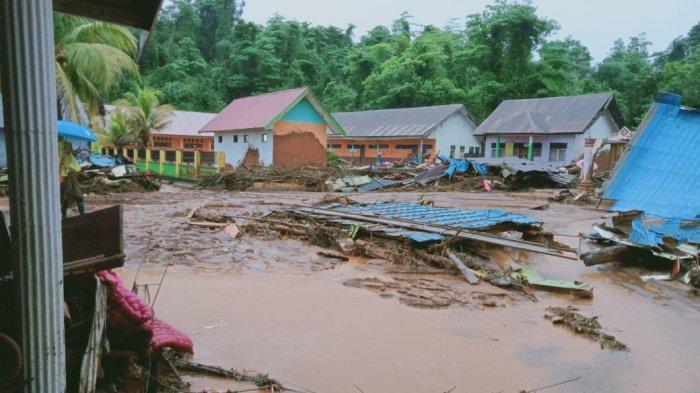 Banjir Bandang Konawe Utara, Puluhan Rumah Terendam, 1 Rumah, 1 Sekolah Tertimbun Lumpur di Konut