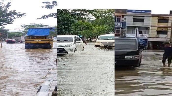 Satu Jam Diguyur Hujan, Sejumlah Ruas Jalan di Kota Kendari Tergenang Banjir, Pengaspalan Terhenti