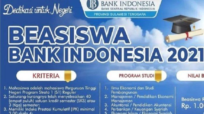 Bank Indonesia Sulawesi Tenggara Buka Beasiswa Bagi Mahasiswa UHO Kendari, Syarat dan Jadwal Daftar