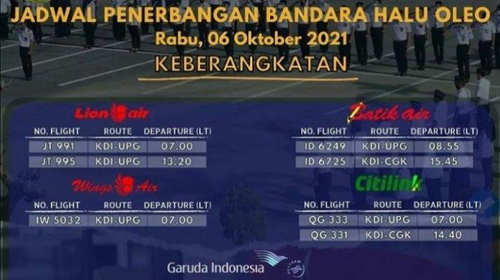 Jadwal Penerbangan di Bandara Haluoleo Kendari 6 Oktober 2021, Lion, Citilink, Wings dan Batik Air