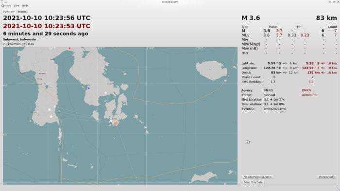 BMKG Gempa Terkini Melanda Buton Selatan Setelah Konawe Selatan di Sulawesi Tenggara