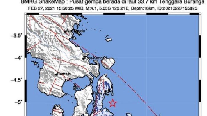 Gempa Bumi Bermagnitudo 4,1 SR Guncang Buton Utara, Sultra BMKG: Belum Ada Laporan Kerusakan