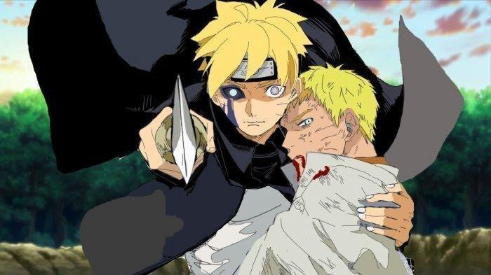 Botuto memeluk  Naruto yang terlihat sekarat akibat pertarungan.