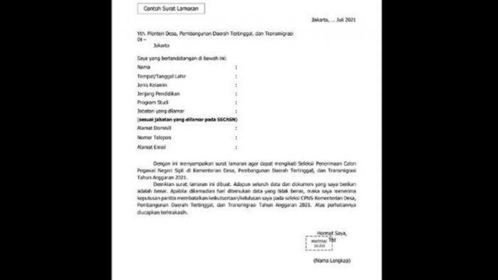 Contoh Surat Lamaran CPNS Kementerian Desa PDT dan Transmigrasi 2021