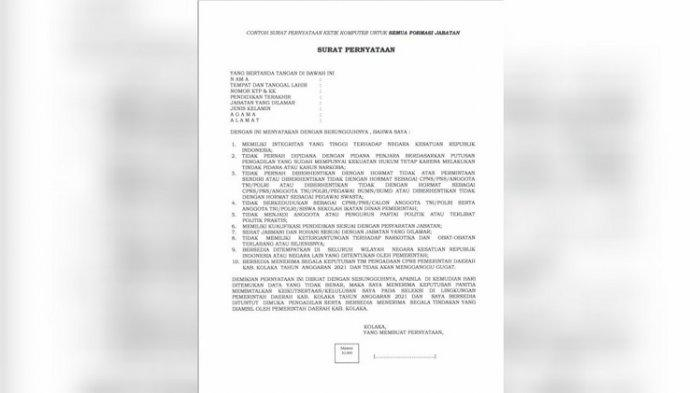 Contoh Surat Pernyataan 10 Poin Ketik Komputer Semua Formasi Jabatan