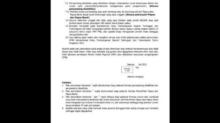 Contoh Surat Pernyataan CPNS Kementerian Desa PDT dan Transmigrasi 2021 Lanjutan