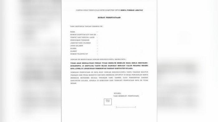 Contoh Surat Pernyataan Ketik Komputer Semua Formasi Jabatan