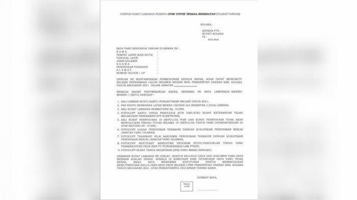 Contoh Surat Lamaran Peserta CPNS Tenaga Kesehatan