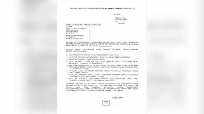 Contoh Surat Lamaran Peserta CPNS Tenaga Teknis