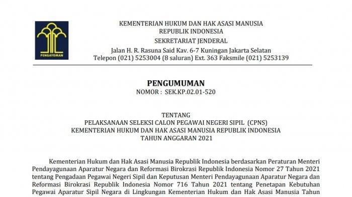 CPNS 2021 Kemenkumham Sulawesi Tenggara, Rincian Formasi, Cara Pendaftaran cpns.kemenkumham.go.id