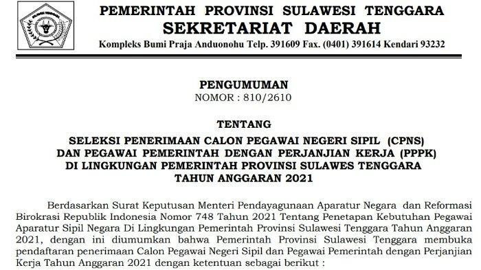 CPNS 2021 Sultra: Rincian Formasi, Jadwal, Syarat, Cara Pendaftaran di Pemprov Sulawesi Tenggara