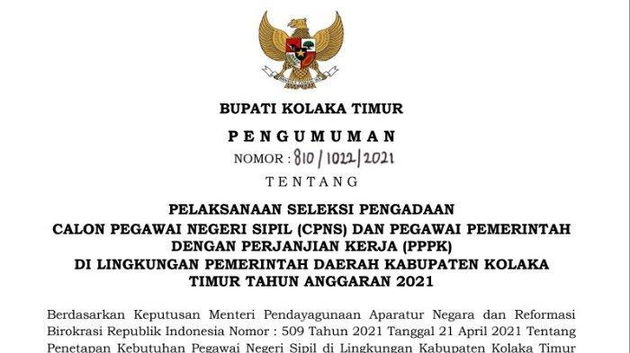 Pengumuman pendaftaran dan penerimaan CPNS Kolaka Timur 2021 dan PPPK Kolaka Timur 2021