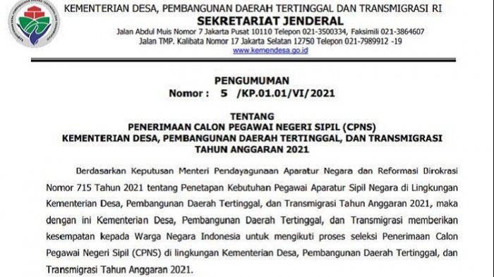 Kualifikasi, Formasi CPNS Kementerian Desa PDT dan Transmigrasi 2021, Ini Tata Cara Pendaftaran