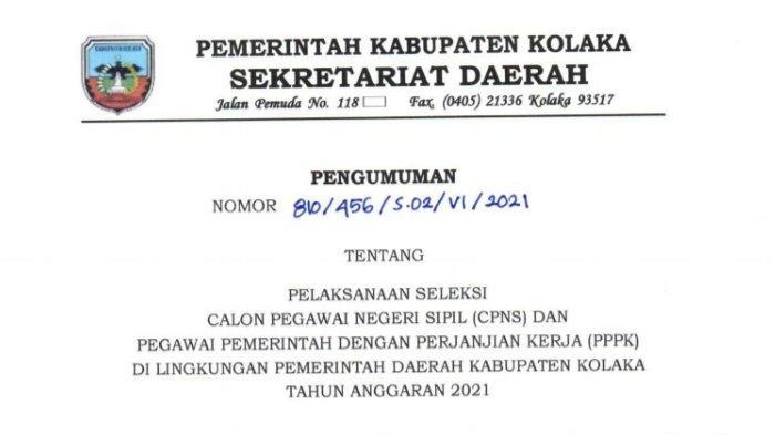Pengumuman pendaftaran dan penerimaan CPNS Kolaka 2021 dan PPPK Kolaka 2021