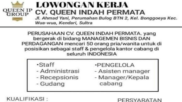 Lowongan Kerja Kendari, CV Queen Indah Buka Rekrutmen 5 Posisi, Berikut Syarat dan Kualifikasinya