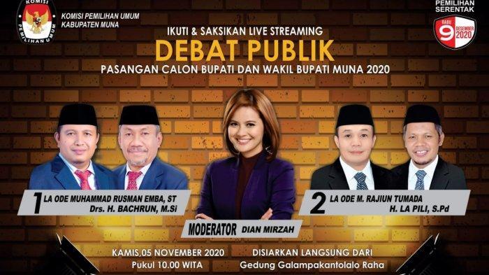 Live Streaming Debat Calon Bupati Muna, Rusman Emba vs Rajiun Tumada, Perdana di Pilkada 2020 Sultra