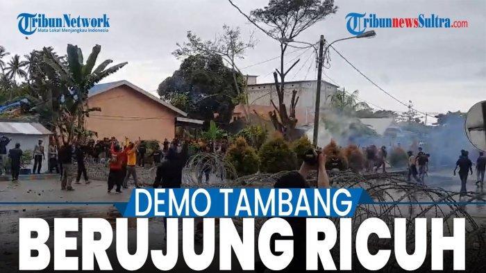 Video Ricuh Demo Tambang di Kolaka Utara, Mobil Water Canon Polisi Dilempari Batu dan Kayu