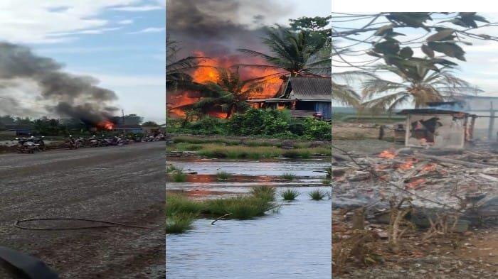 Empat rumah di Kecamatan Kapoiala, Kabupaten Konawe, Provinsi Sulawesi Tenggara (Sultra) dibakar, Minggu (4/7/2021) sore.