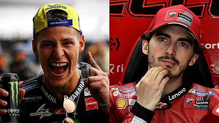 Pembalap Yamaha Monster Energy Fabio Quartararo (kiri) dan pembalap Ducati Lenovo Team Francesco Bagnaia (kanan)