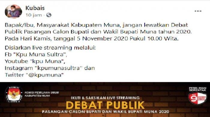 Ketua KPU Kabupaten Muna Kubais mengajak masyarakat menonton live streaming debat kandidat Bupati dan Wakil Bupati Muna