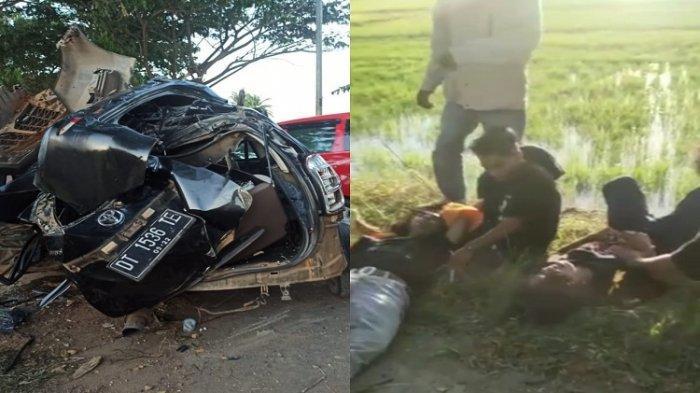 Kolase foto Mobil rombongan mahasiswa yang ringsek seusai menabrak pohon dan kondisi para korban yang saat usai kejadian naas tersebut.