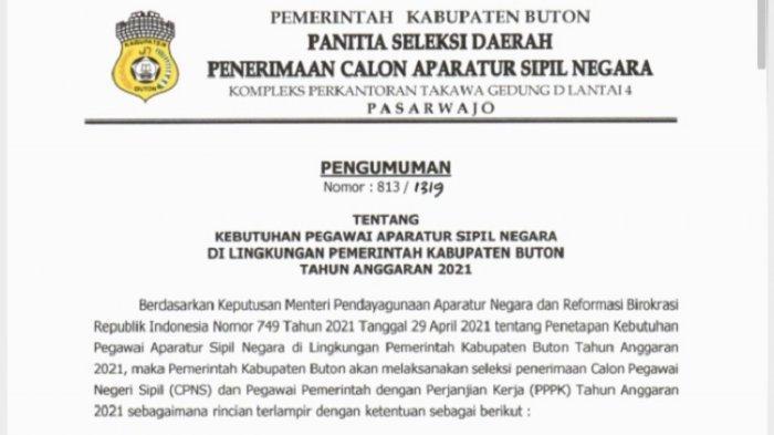 Surat edaran Panitia Seleksi Daerah Penerimaan Calon Aparatur Sipil Negara wilayah Kabupaten Buton.