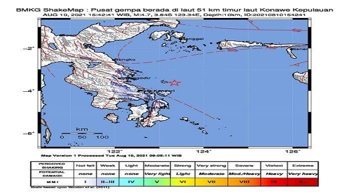 Gempa Bumi Berkekuatan 4,7 Skala Richter Guncang Konawe Kepulauan, Tidak Berpotensi Tsunami