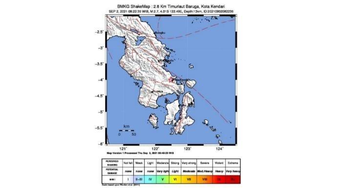 Gempa Bumi Kembali Guncang Kota Kendari Magnitudo 2,7 SR, Timur Laut Baruga Tak Berpotensi Tsunami