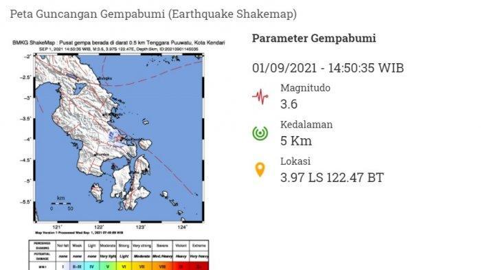 Penyebab Gempa Kendari 3,6 Skala Richter di Sulawesi Tenggara, Terkini BMKG: Darat Tenggara Puuwatu