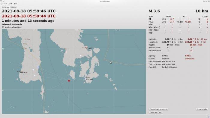 Gempa Terkini BMKG Guncang Kabaena Selatan Bombana, Magnitudo 3,6 SR Tidak Berpotensi Tsunami
