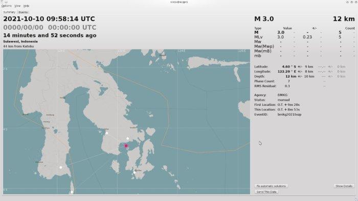 Terjadi gempa terkini Konawe Selatan atau Konsel, Provinsi Sulawesi Tenggara (Sultra), pada Minggu (10/10/2021). Berdasarkan update Badan Meteorologi Klimatologi dan Geofisika atau BMKG Kendari gempa bumi berkekuatan 3 skala richter (SR).