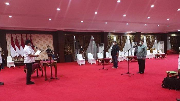 Gladi Pelantikan Bupati Muna Rusman Emba dan Wakil Bupati Muna Bachrun Labuta di Aula Merah Putih Rujab Gubernur Sultra, Rabu (1/9/2021).
