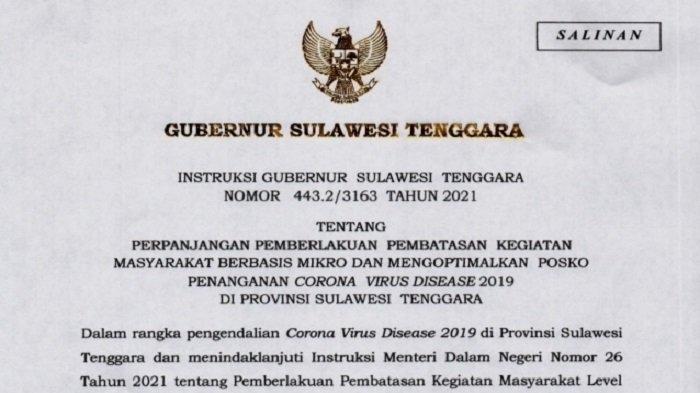 Gubernur Sulawesi Tenggara Resmi Keluarkan 6 Instruksi PPKM Mikro Level 2 dan 3 di 17 Daerah
