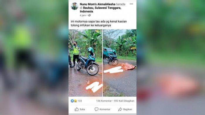 Terungkap Identitas Wanita Tewas di Tengah Jalan di Baubau, Ban Motor Terselip karena Jalan Licin