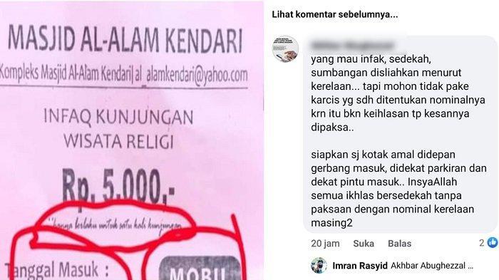 Warganet Protes Infaq Wisata Religi Rp5.000 di Masjid Al Alam Kendari, Dikutip di Pintu Gerbang