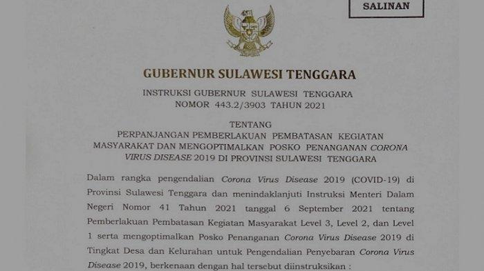 Instruksi Gubernur Sultra Ali Mazi Perpanjangan PPKM Sulawesi Tenggara, 11 Daerah Turun ke Level 2