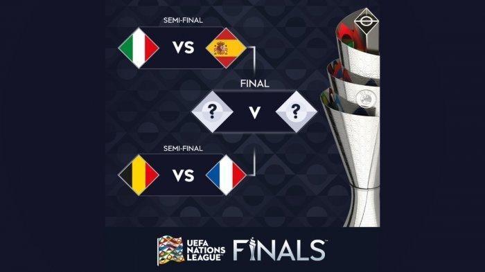 Simak jadwal siaran langsung timnas Italia vs Spanyol dan Belgia vs Prancis di Semifinal UEFA Nations League 2020-2021, live streaming Mola TV.