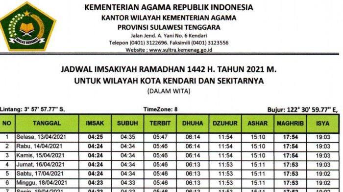 ILUSTRASI Jadwal imsakiyah Ramadan 1442 H