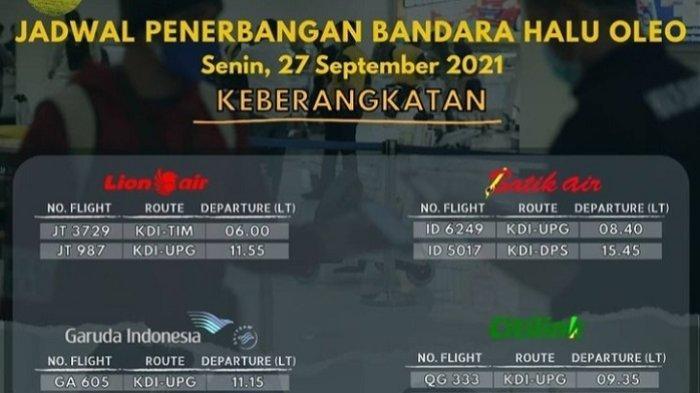 Jadwal Penerbangan di Bandara Haluoleo Kendari, 27 September 2021 Lion Air dan Garuda Indonesia