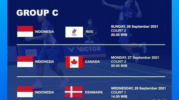 Lengkap jadwal Piala Sudirman 2021, Indonesia bakal hadapi Rusia, Kanada, hingga Denmark, pada fase grup.