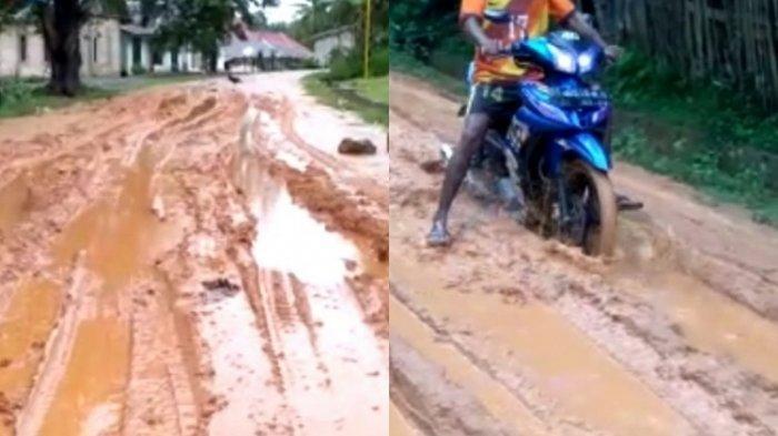 Warga Desa Tanjung Tiram Kabupaten Konsel Keluhkan Jalan Rusak Karena Dilalui Mobil Perusahaan