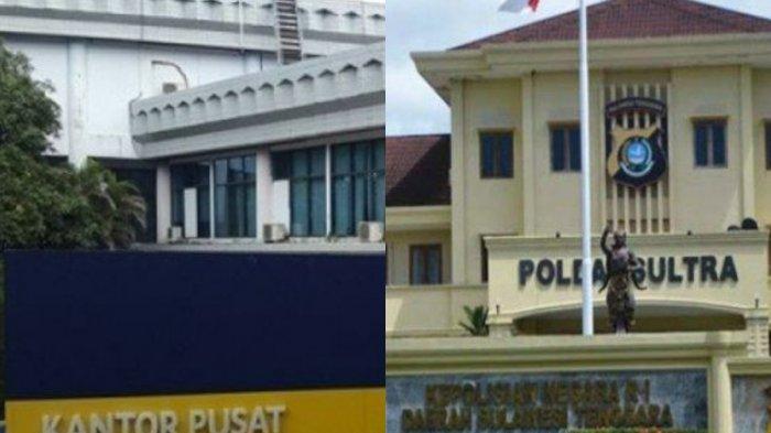 Dugaan kasus fraud di Bank Sultra Cabang Pembantu Konawe Kepulauan (Capem Konkep), Provinsi Sulawesi Tenggara (Sultra) erus bergulir (ilustrasi kolase foto Kantor Pusat Bank Sultra dan Mapolda Sultra).