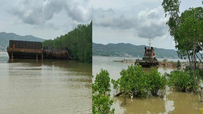 Kapal Tongkang Pengangkut Ore Nikel Parkir di Teluk Kendari, Mangrove Tercabut, Laut Tercemar