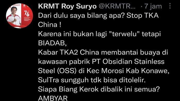 Roy Surya Murka di Twitter Soal TKA China Santap Buaya di Konawe, Minta Stop Datangkan TKA China