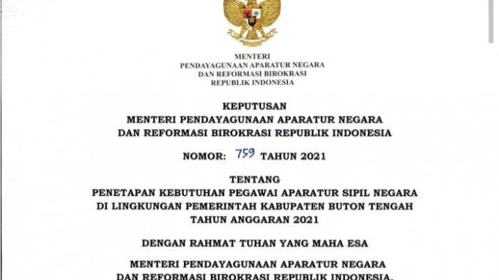 Rincian Jumlah Formasi Rekrutmen CPNS dan PPPK 2021 Buton Tengah Sulawesi Tenggara