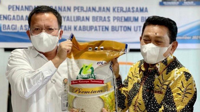 Bulog Sultra Kerjasama dengan Pemerintah Kabupaten Buton Utara Salurkan Beras ke 2.350 ASN